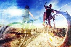自行车生活方式和冒险 体育运动背景 免版税库存图片