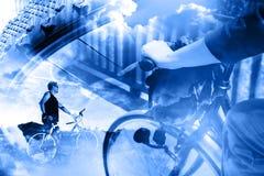 自行车生活方式和冒险 Duble曝光体育背景 库存照片