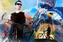 自行车生活方式和冒险 Duble曝光体育背景 免版税图库摄影