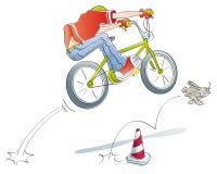 自行车男孩跳实践 免版税库存图片
