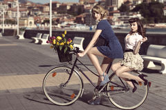 自行车的两名葡萄酒妇女在海附近 免版税库存照片