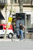 自行车的妇女 图库摄影