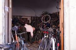 自行车的安装工 免版税图库摄影