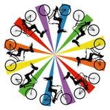 自行车的抽象剪影女孩 免版税库存照片