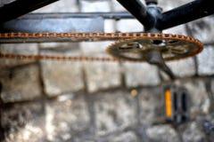 自行车的生锈的链子 免版税图库摄影