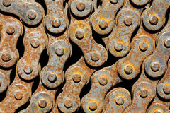 从自行车的生锈的链子 库存图片