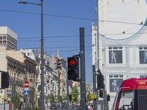 自行车的红色红绿灯在罗兹在Piotrkowska st的市中心 库存照片