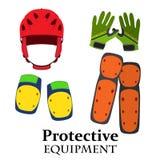 自行车的,自行车的齿轮保护设备在平的样式 盔甲,护膝,肘垫子,在明亮的颜色的手套 库存图片