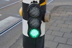 自行车的绿灯 库存图片
