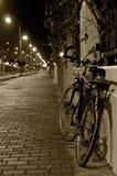 自行车站立在篱芭在晚上 库存照片