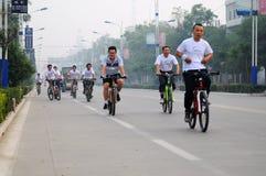 自行车竞争骑马 免版税图库摄影