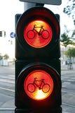 自行车签到红灯 免版税库存照片