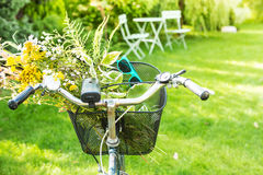 自行车篮子充满浪漫野花束 免版税库存照片