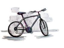 自行车色的图画 库存例证