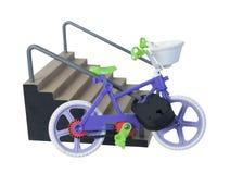 自行车被挂锁对台阶扶手栏杆 免版税库存照片