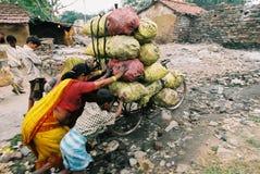 自行车被超载的印度 库存照片