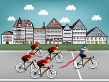 自行车赛在镇里 免版税库存照片