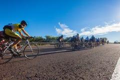 自行车赛小山攀登特写镜头 库存照片