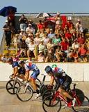 自行车赛车道启动种族 库存图片