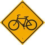 自行车路径黄色符号 免版税图库摄影