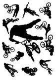 自行车跳的集 免版税库存照片
