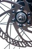 自行车车轮制动盘特写镜头 免版税库存照片