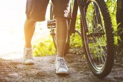 自行车车轮特写镜头 免版税库存图片