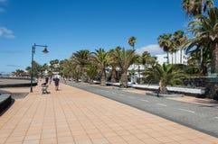 自行车车道在兰萨罗特岛 库存照片