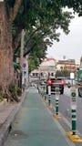 自行车车道在清早 图库摄影