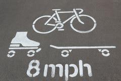 自行车车道标志 库存照片