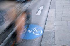 自行车车道的,维也纳骑自行车者 免版税图库摄影