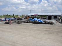 自行车轨道的建造场所 免版税库存照片