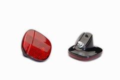 自行车轮子的后方红色反射器 图库摄影