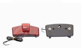 自行车轮子的后方红色反射器 免版税库存照片