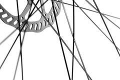 自行车轮幅和盘式制动器 免版税库存照片