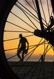 自行车轮胎剪影在海滩的在日落 库存照片