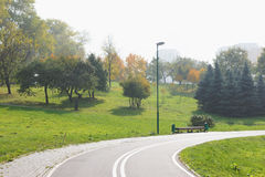 自行车道在城市公园。 免版税图库摄影