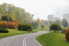 自行车道在城市公园。 库存图片