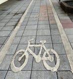 自行车道的路标 免版税图库摄影