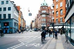 自行车道路在哥本哈根 免版税库存图片
