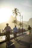 自行车道路边路Ipanema海滩里约热内卢巴西 库存照片