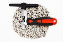 自行车链子工具 图库摄影