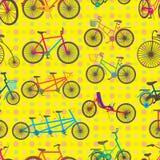 自行车集合无缝的样式 图库摄影