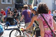 自行车革命Velorution,格勒诺布尔,法国 免版税库存照片