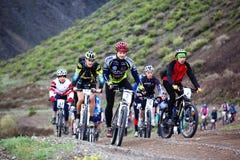 自行车马拉松山春天 免版税图库摄影