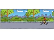 自行车骑士的例证在公园 免版税库存照片