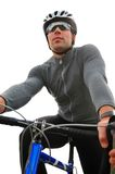 自行车骑士纵向 免版税库存照片