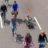 自行车骑士`游行在马格德堡,德国上午17 06 2017年 这个事件的主要目标是受到对循环的注意在城市 库存照片