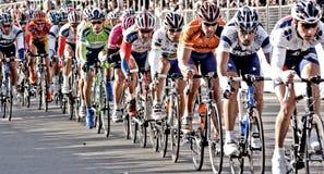自行车骑自行车的人森林种族路 免版税库存图片