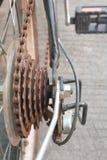 自行车齿轮有铁锈 免版税图库摄影